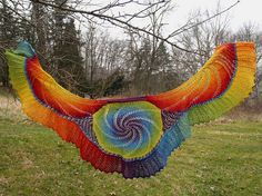 """Rainbow shawl using the """"In the Pink"""" free pattern from Ravelry."""