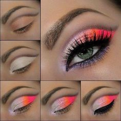 Tutoriel de Maquillage : Neon Color Eye make-up Pretty Makeup, Love Makeup, Makeup Inspo, Makeup Inspiration, Makeup Tips, Beauty Makeup, Makeup Looks, Makeup Tutorials, Makeup Ideas