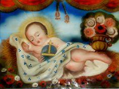 BAMBINELLO DISTESO (H) pittura su vetro cm 40X30