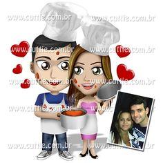 Caricatura para Chá Bar - Noivos Ana paula e Marcelo - chá de panela cuttie