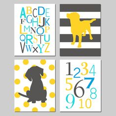 Kids Wall Art Quad  Set of Four 8x10 Prints  Nursery by Tessyla, $65.00