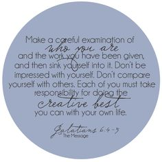 Anchored in Love: Doing Your Creative Best {Galatians 6:4-5}