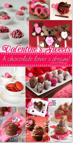 Valentine's chocolate recipe ideas for chocolate lovers; featuring mini cakes, cake pops, mousse and truffles.  #valentineschocolates #valentinechocolaterecipes #valentinestreats