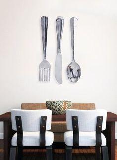 Fork Spoon Knife Rustic Flatware Silverware Kitchen Wall Decor ...
