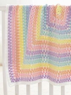 Yarnspirations.com - Beginner level Caron Baby Blanket Squared - Free Patterns  | Yarnspirations
