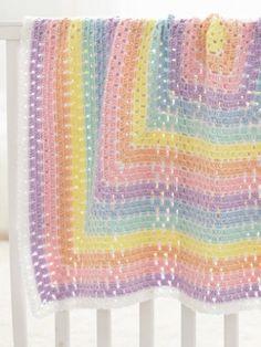 Yarnspirations.com - Caron Baby Blanket Squared - Free Crochet Pattern  | Yarnspirations
