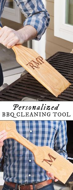 Put an end to grimy grates and metal wire cleaners with an all-natural scraper that molds to your grill for custom cleanup. Personalized bbq cleaning tool makes a great gift for him.
