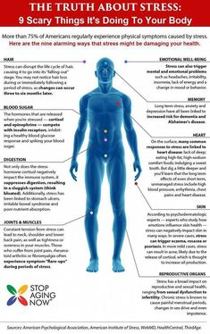 TRUTH ABOUT STRESS: 9 Scary Things It's Doing To Your Body. Stress not only affects our mental health, but can manifest itself physically. Discover the nine alarming ways stress can wreak havoc on your body! Health Chart, Health Facts, Health And Nutrition, Health And Wellness, Mental Health, Nutrition Guide, Health Tips, Ayurveda, Bone Diseases