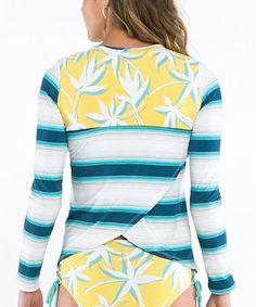 994934eec0d Loving this Playa Stripe  amp  Gold Palms Riviera Rashguard - Women on   zulily!