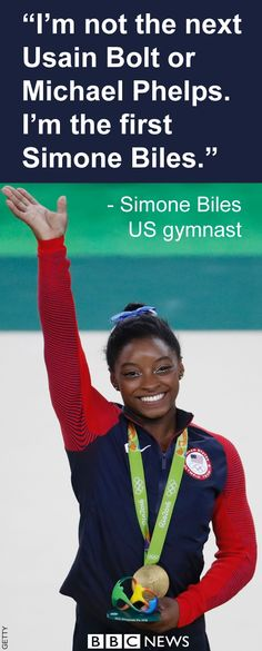 Simone Biles, Gold medalist, US Gymnastics team. 2016 Olympics in Rio. August 11, 2016.