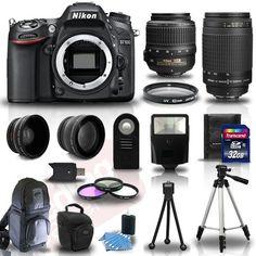 Nikon D7100 Digital SLR Camera + 4 Lens Kit: 18-55mm VR + 70-300 mm +32GB Kit #Nikon