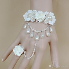 Indian Wedding Accessories Fashion Bridal Jewelry In Stock White Flower Pearls Applique Lace Wedding Hand Jewelry Accessories Bracelet Girls 2014 Dress Bridal