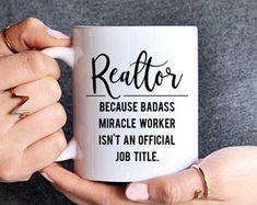 Realtor Mug - Real Estate Agent Mug - Badass miracle worker official job title - realtor gift - Realtor Coffee Mug - Number One Realtor Real Estate Quotes, Real Estate Humor, Selling Real Estate, Real Estate Investing, Real Estate Business, Real Estate Marketing, Realtor Signs, Getting Into Real Estate, Cricut