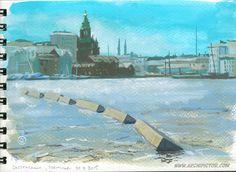 Plein air, SketchCrawl Helsinki, Tervasaari 25.7.2015, kuvittaja / illustrator Ossi Hiekkala