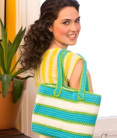 Striped Tote Bag | Red Heart , FREE Crochet Pattern , EASY