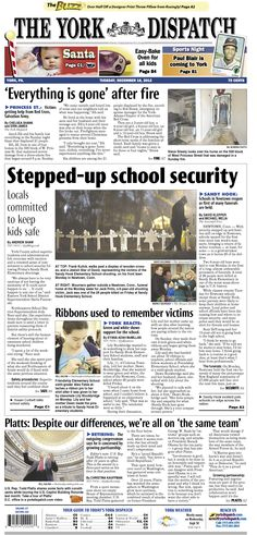 York Dispatch front page for Dec. 18, 2012