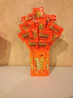 This is a reese's pieces and reese's candy bouquet. Can be made to your liking with different types of mixed candy or all same