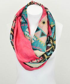 Coral & Blue Tribal Infinity Scarf | something special every day