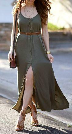 Modelos de vestido verde - En Tutorial and Ideas Basic Fashion, Boho Fashion, Fashion Outfits, Womens Fashion, Feminine Fashion, Ladies Fashion, Dress Fashion, Fashion Photo, Summer Outfits