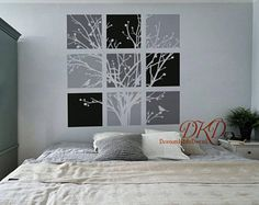 Tree Wall Sticker Artistic Grey Abstract Trees Art-Vinyl Wall Decal Full Color Sticker Decor Removable Art Mural -DK010