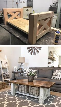 DIY Farmhouse Coffee Table perfect for the home living room #coffeetable #diy #home