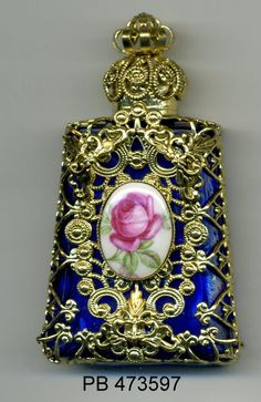 Perfume Bottle, aroma bottle, essential oil vial, Bohemia Glass royal blue bottle with gold filigree with rose cameo PB 473597 by buttonsandshanks on Etsy