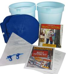 Let's go tapping! This tapping Kit includes two buckets with integrated lids and spiles, cone filter, children's book, and instruction sheets.
