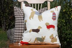 Man's Best Friend Pillow Cover  16 x 16 by nest2impress on Etsy, $15.00