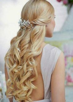 wedding hairstyles for long hair | Wedding hairstyle long elegant