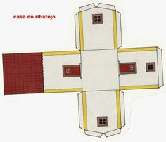 Paper Toys, Paper Crafts, House Template, Craft Images, Paper Models, Free Paper, Pictures To Draw, Model Homes, Portuguese