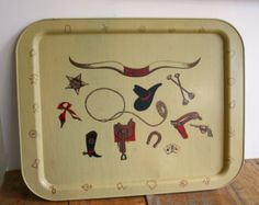 New tray for Ginger. So Excited. Vintage Cowboy Kitsch Metal Serving Tray