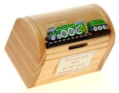 Green Steam Train : Money Box with Secret Lock : Handcrafted Wooden Treasure Chest : Top Gift Idea : High Quality Traditional Present For Boys, For Girls, For Him, For Her, For Children  For Fun Loving Adults! 30+ Designs (Size 12x9x7cm):Amazon.co.uk:Toys  Games