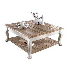 """Couchtisch """"Country"""" aus MDF-Holz mit 2 Ablageflächen Weiß/Braun"""