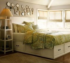 Love the bed frame and hand held mirrors above. Stratton Bed with Drawers | Pottery Barn......this is the one I'm coping for my master bedroom