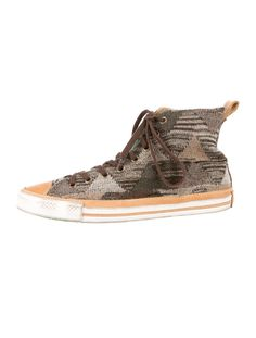 Men's slate, taupe and multicolor knit Missoni for Converse high-tops with leather cap toes, front lace closure and rubber soles. $125.00 size 10
