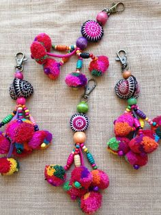 Hmong Handmade Pom pom Beaded cute Charm Keyring Bag Accessory set of 30 This is. Hmong Handmade P Pom Pom Crafts, Yarn Crafts, Diy And Crafts, Arts And Crafts, Fabric Crafts, Textile Jewelry, Fabric Jewelry, Cute Charms, Fabric Beads