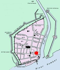 """The red arrow is Monkgate (""""Monk Street""""), where the Austin Friars were Dissolution Of The Monasteries, Google Tricks, Kingston Upon Hull, Hull City, East Yorkshire, Red Arrow, Historical Maps, Thesis, Cottages"""