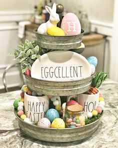 Easter themed galvanized tiered tray | Rae Dunn | tiered tray | Easter decor