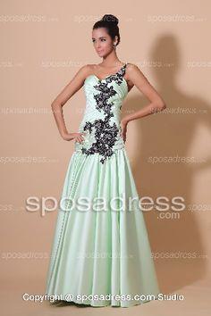 Mint Green Prom Dresses | 2013 Mint Green One Shoulder Appliques Beading Graceful Prom Dress ...