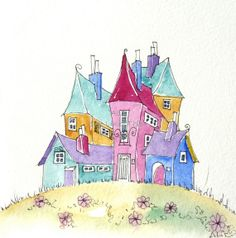 Colourful Houses on a hill fun and quirky an by shelikesthis, £12.50