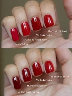 OPI Red Comparisons - Flickr Kseniya Thrill of Brasil, Vodka and Caviar, Got the Blues for Red, St. Petersburghundy, Dutch Tulips, So Hot it Berns