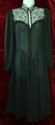 SOLD - from Orphaned Treasures! Sheer Black Steampunk Victorian Gothic Goth Dress Buttoned Lace High Collar | eBay