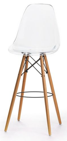 Features:  -Classic dowel-leg base.  -Ergonomic seat shape that cradles the body.  -Mid-century modern design coupled with today's manufacturing precision.  -Versatile bar stool that can be used in co