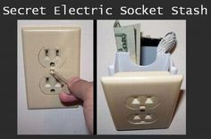 Hidden Wall Safe Electrical Outlet: These unique wall safes allow you to hide valuables inside one of many identical looking wall outlets you already have in your home, the last place someone is likely to look. Cool Kitchen Gadgets, Cool Gadgets, Secret Hiding Places, Hiding Spots, Hide Money, Wall Safe, Lazy People, Electrical Outlets, Cool Inventions