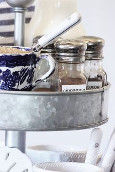 StoneGable: COFFEE BAR- small jars with cinnamon, cocoa