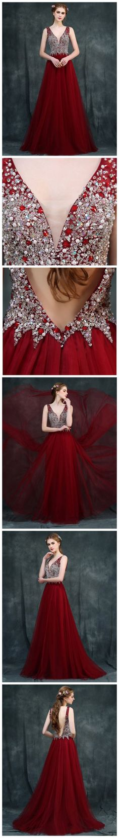 CHIC A-LINE V-NECK BURGUNDY TULLE RHINESTONE MODEST PROM DRESS EVENING DRESS AM491