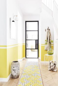 Feng Shui Tricks To Steal And Give Your Home Positive Energy Style inspiration: Sunshines shades - yellow. Styled by Lorraine Dawkins. Hallway Decorating, Entryway Decor, Decorating Ideas, Decor Ideas, Room Ideas, Wall Ideas, Diy Ideas, Feng Shui Entrance, Entrance Hall