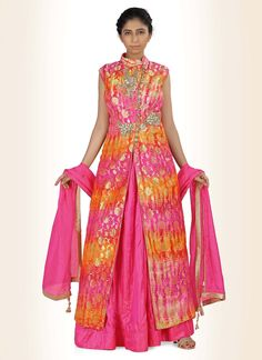 You can be bound to make a strong style statement with this  silk indo western…