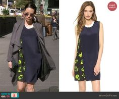 Joan's green printed layered dress on Elementary.  Outfit Details: http://wornontv.net/42134/ #Elementary