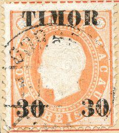 Timor 1892 Scott 21 on orange Macao 1888 Scott 44 Surcharged in Black Dutch East Indies, Coast Australia, Just Peachy, Beautiful Sunrise, Archipelago, Great Britain, Postage Stamps, Vintage World Maps, Culture